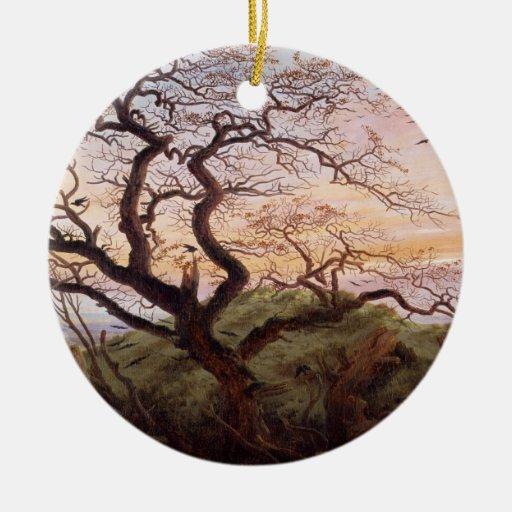 El árbol de cuervos, 1822 adorno redondo de cerámica