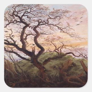 El árbol de cuervos, 1822 pegatina cuadradas personalizadas