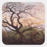 El árbol de cuervos, 1822 pegatina cuadrada