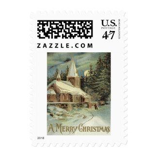 El árbol de hoja perenne de la iglesia protagoniza sellos