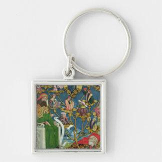 El árbol de Jesse, del altar de la bóveda, 1499 Llavero Cuadrado Plateado