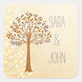el árbol de la caída, boda rústico favorece a los pegatina cuadrada