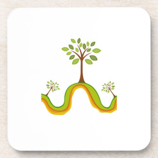 El árbol de la hoja simple en el naranja agita el  posavasos para bebidas
