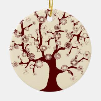 El árbol de la vida adorno navideño redondo de cerámica