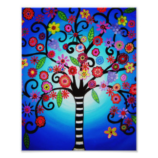 El árbol de la vida florece la pintura cojinete