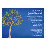 El árbol de la vida remolina las invitaciones azul