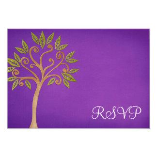 El árbol de la vida remolina palo púrpura Mitzvah Invitación Personalizada