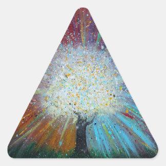 El árbol de la vida salta adelante arte abstracto pegatina triangular