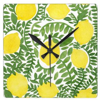 El árbol de limón fresco reloj cuadrado