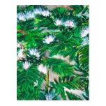 el árbol de lluvia florece arte de la pintura del  tarjetas postales