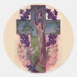 El árbol de los pegatinas cristianos de Pascua de Pegatinas Redondas