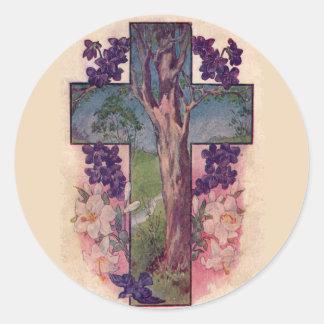 El árbol de los pegatinas cristianos de Pascua de Pegatina Redonda