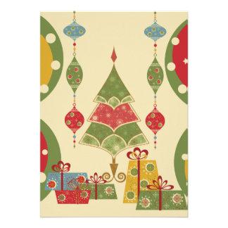 El árbol de navidad adorna día de fiesta de los pr invitación personalizada