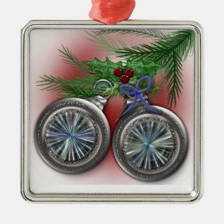 El árbol de navidad adorna el ornamento adorno navideño cuadrado de metal