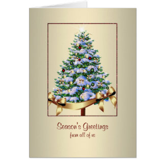 El árbol de navidad adornó feliz negocio tarjeta de felicitación