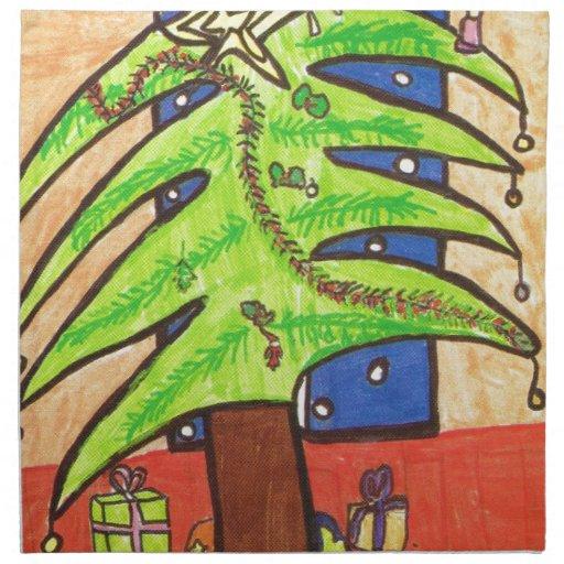 El árbol de navidad, alista para los regalos servilleta de papel