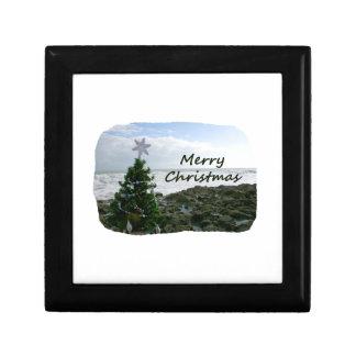 El árbol de navidad contra la playa oscila Felices Caja De Joyas