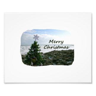 El árbol de navidad contra la playa oscila Felices Impresión Fotográfica