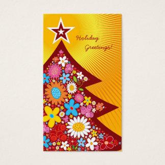 El árbol de navidad de las flores de la primavera tarjeta de negocios