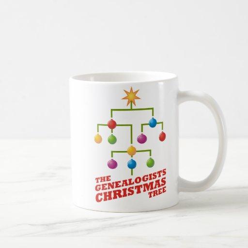 El árbol de navidad de los Genealogists Tazas De Café