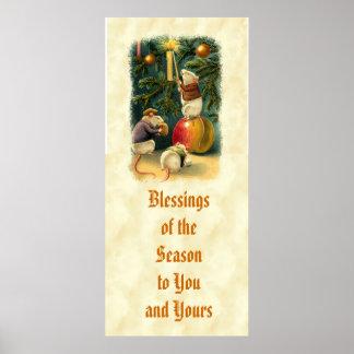 El árbol de navidad de los ratones del vintage póster
