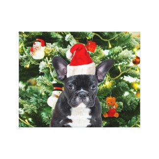 El árbol de navidad del dogo francés adorna el impresión en lienzo