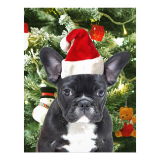 El árbol de navidad del dogo francés adorna el membretes personalizados