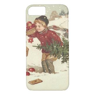 El árbol de navidad del muchacho presenta nieve de funda iPhone 7