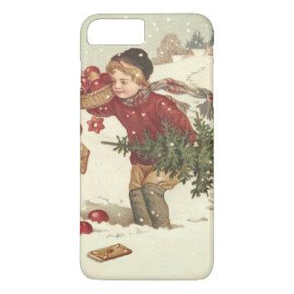 El árbol de navidad del muchacho presenta nieve de funda iPhone 7 plus