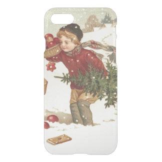 El árbol de navidad del muchacho presenta nieve de funda para iPhone 7