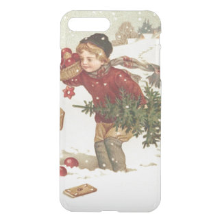 El árbol de navidad del muchacho presenta nieve de fundas para iPhone 7 plus