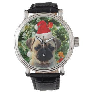 El árbol de navidad del perro de perrito del barro relojes de pulsera