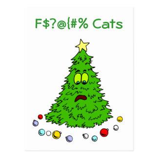 El árbol de navidad divertido bromea día de fiesta tarjetas postales