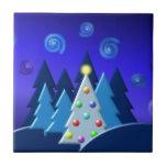 El árbol de navidad enciende diseño OSCURO Azulejo Ceramica