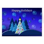 El árbol de navidad enciende diseño OSCURO Tarjetas