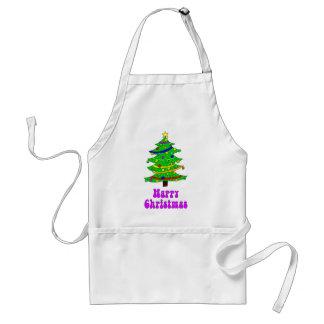 El árbol de navidad feliz del Hippie Delantal