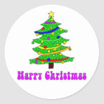 El árbol de navidad feliz del Hippie redondo Pegatinas Redondas