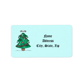 El árbol de navidad gótico lindo le agradece etiqueta de dirección