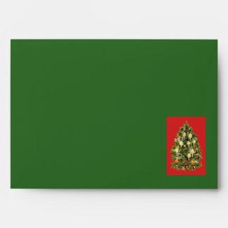 El árbol de navidad iluminado por velas adorna la sobre