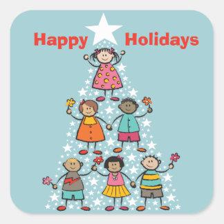 El árbol de navidad lindo embroma buenas fiestas pegatina cuadrada