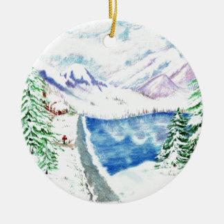 El árbol de navidad pasado adorno navideño redondo de cerámica