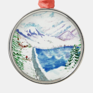El árbol de navidad pasado adorno navideño redondo de metal