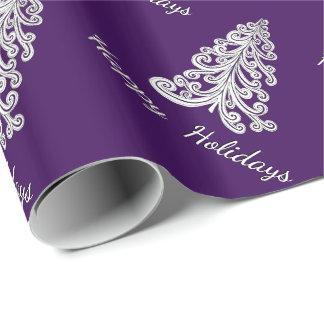 El árbol de navidad púrpura buenas fiestas elige papel de regalo