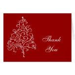 El árbol de navidad rojo del invierno le agradece  tarjetón