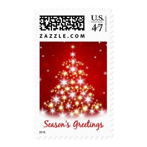 El árbol de navidad sazona franqueo de los saludos timbre postal