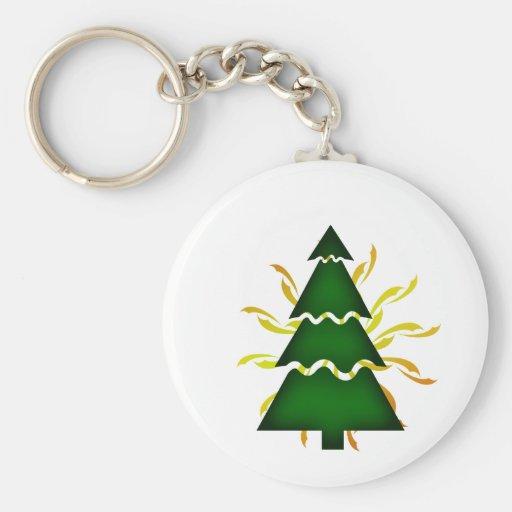 El árbol de navidad seccional con amarillo agita d llavero personalizado