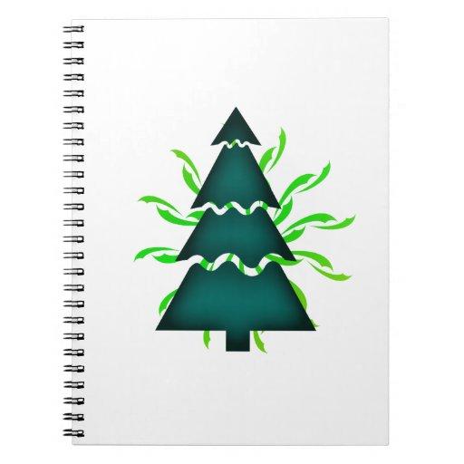 El árbol de navidad seccional con amarillo agita t libreta