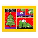 El árbol de navidad toma abajo, gato postales