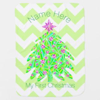 El árbol de navidad verde personalizó mi 1r mantitas para bebé