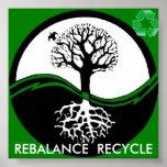 el árbol de yang del yin recicla el poster a parti